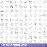 100 amusement icons set, outline style Royalty Free Stock Photography
