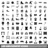 100 amusement icons set, simple style. 100 amusement icons set in simple style for any design vector illustration Stock Images