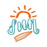 Amusement marquant avec des lettres le mot, l'image simple du soleil et le conseil surfant illustration stock