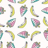 Amusement Memphis Strawberry Banana Pattern, illustration sans couture de fond de vecteur illustration libre de droits