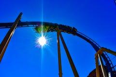Amusement Montu roller coaster at autumn evening time at Bush Gardens Tampa Bay stock photography