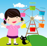 Amusement Park. Illustration of a girl and her cat in amusement Park Royalty Free Stock Photography