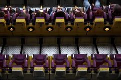 Amusement park. People in a machine at linnanmäki amusement park Stock Photography