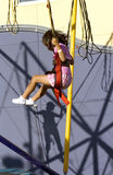 Amusement park. Girl jumping on trampoline in amusement park Royalty Free Stock Images