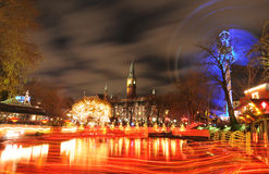 Amusement park. Night view of Tivoli Gardens amusement park in Copenhagen, Denmark Stock Images