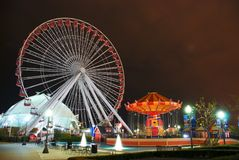Amusement Park. Night view of Nayv Pier Amusement Park, Chicago Stock Photography