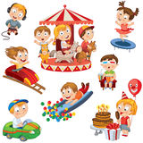 Amusement Park. Set. Children ride on the carousel, little girl jumping on a trampoline, eating ice cream and keeps the balloon, boy sits in 3d a movie theater vector illustration