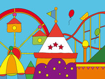 Amusement park. Illustration of colored amusement park Stock Photo