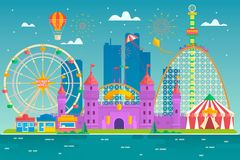 Amusement park with attraction and rollercoaster, tent with circus, carousel or round attraction, merry go round, ferris Stock Images