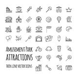 Amusement park, attraction vector icons set. For your design Stock Photo
