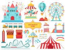 Amusement park attractions. Carnival kids carousel, ferris wheel attraction and amusing fairground entertainments vector stock illustration