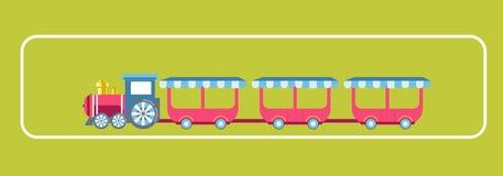 Amusement park attractions child train carousels vector flat design Stock Images