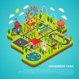 Amusement Park Attractions Fairground Isometric. Amusement park fairground with big ferris observation wheel and bumper cars attractions isometric colorful Royalty Free Stock Image