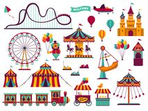 Free Amusement Park Attractions Set. Carnival Amuse Kids Carousels Games Fairground Attraction Play Rollercoaster Stock Photography - 139606762