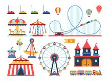 Amusement park attractions. Train, ferris wheel, carousel and roller coaster flat vector icons stock illustration