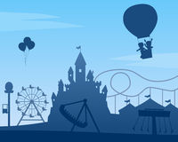 Amusement Park Background. Amusement park silhouette background with a castle, a circus tent, ferris wheel, roller coaster, carousel and other attractions. Eps royalty free illustration