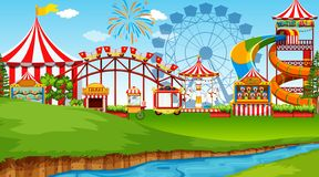 Amusement park background scene. Illustration stock illustration
