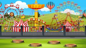 Amusement park background scene. Illustration royalty free illustration