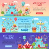 Amusement park banner. Amusing festival attractions, kids carousel and ferris wheel attraction banners background vector. Amusement park banner. Amusing festival vector illustration