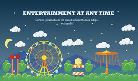 Amusement park banner concept vector illustration in flat style design. City fair. Slides and swings, carousels, ferris wheel attraction Stock Photos