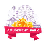 Amusement park banner with different carousels, swings and ferri. Amusement park banner  with different carousels, swings and ferris wheel. Vector illustration Royalty Free Stock Photos