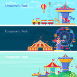 Amusement park banner set with different carousels and swings. Amusement park horizontal backgrounds vector illustration with different carousels, swings and Royalty Free Stock Images