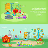 Amusement park banner set horizontal. In cartoon style for any design vector illustration Royalty Free Stock Image