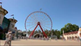 Amusement park, amusement park. Big ferris wheel in the park.  stock footage