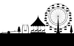 Amusement park, black contour of a Ferris wheel on a white background. Vector Stock Image