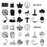Amusement park black icons in set collection for design. Equipment and attractions vector symbol stock web illustration. Amusement park black icons in set stock illustration