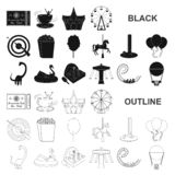 Amusement park black icons in set collection for design. Equipment and attractions vector symbol stock web illustration. Amusement park black icons in set royalty free illustration