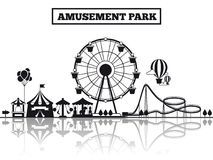 Amusement park silhouette banner design. Amusement park black silhouette banner poster design. Vector illustration flat Royalty Free Stock Photo