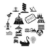 Amusement park black simple icons set. Isolated on white background vector illustration