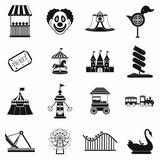 Amusement park black simple icons set Stock Photos