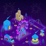 Amusement Park Card Poster Concept 3d Isometric View. Vector royalty free illustration