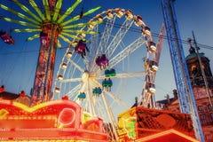 Amusement park carousel Beautiful night lighting Stock Photos