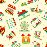 Amusement park with carousel, circus and other attractions. Vector seamless pattern Royalty Free Stock Photo