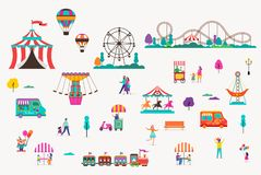 Amusement park with carousels, air balloons and roller coaster. Circus, Fun fair and Carnival icon set. Amusement park with carousels, air balloons and roller royalty free illustration