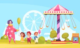 Amusement Park Cartoon Background vector illustration