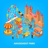 Amusement Park Isometric Background. Amusement park cartoon background with  cars for kids medieval castle carousel ferris wheel isometric decorative elements Stock Photography