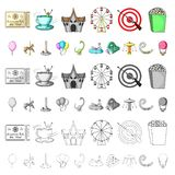 Amusement park cartoon icons in set collection for design. Equipment and attractions vector symbol stock web. Amusement park cartoon icons in set collection for vector illustration