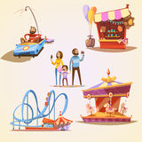Amusement park cartoon set Royalty Free Stock Photo