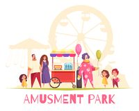 Amusement Park Vector Illustration. Amusement park cartoon vector illustration with clown blowing balloons by air pump for entertaining children and adults stock illustration