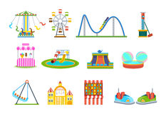 Amusement park for children with attractions and fun games. Stock Photography