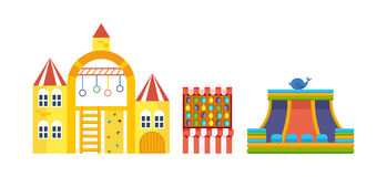 Amusement park for children with attractions and fun games. Royalty Free Stock Photos