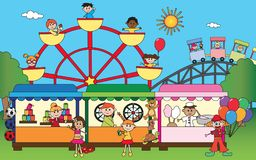 Amusement park with children. Illuastration of amusement park with happy children Stock Images