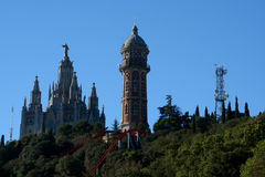 Amusement Park and Church at Tibidabo in Barcelona, Spain Stock Images