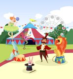 Amusement park with circus artists and marquee, ferris observation wheel and green trees on background. Cartoon. Characters of people and animals near colorful Stock Image
