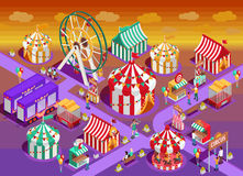 Amusement Park Circus Attractions Isometric Illustration. Amusement park circus attractions isometric poster with classic striped tents and observation wheel Stock Photo
