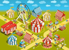 Amusement Park Circus Attractions Isometric Illustration. Amusement park travel circus attractions colorful isometric poster with classic striped tents and Stock Photography